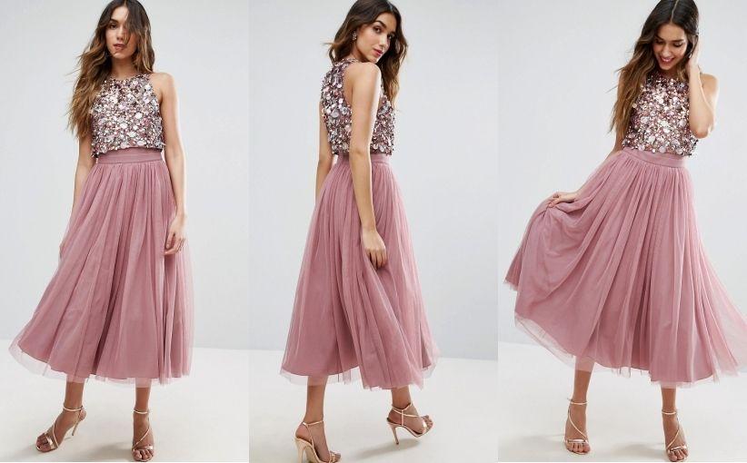 K4g006 Nl2 Midi Sukienka Tiulowa Crop Top L 6789128620 Oficjalne Archiwum Allegro Blush Bridesmaid Dresses Short Dresses Short Bridesmaid Dresses