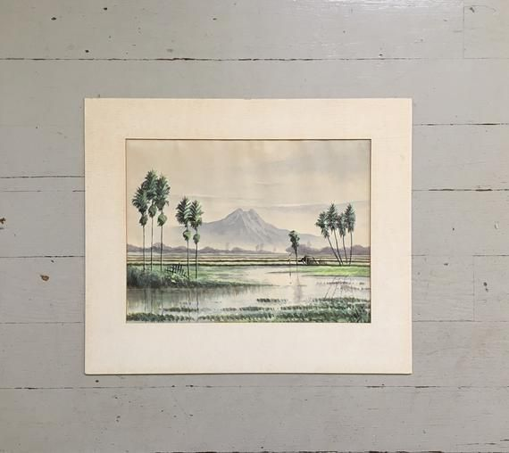 Vintage Landscape Painting Vintage Japanese Landscape Painting