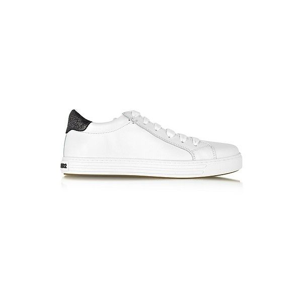 DSquared2 Shoes Tennis Club White and Black Leather Sneaker ($170) ❤ liked on Polyvore featuring shoes, sneakers, white, white and black sneakers, black and white shoes, black and white trainers, tennis sneakers and leather sneakers