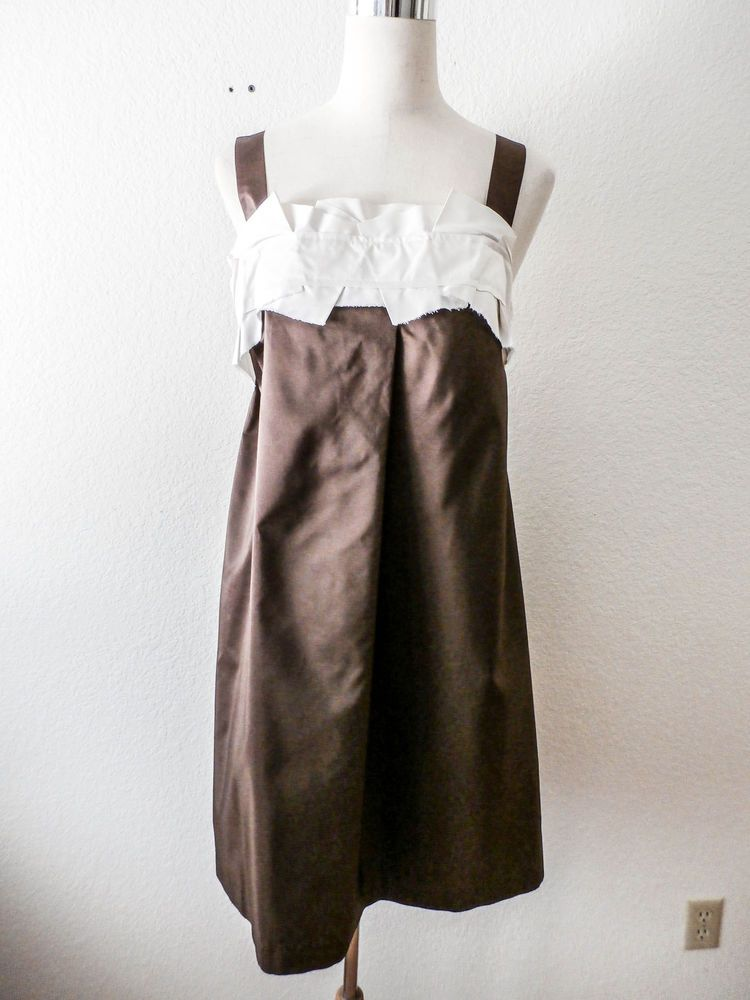 Nwt 595 Rozae Nichols Brown Silk Tail Party Dress Large Rozaenichols Tunic