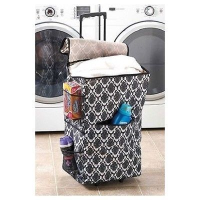 laundry hamper portable rolling basket bin dorm clothes storage