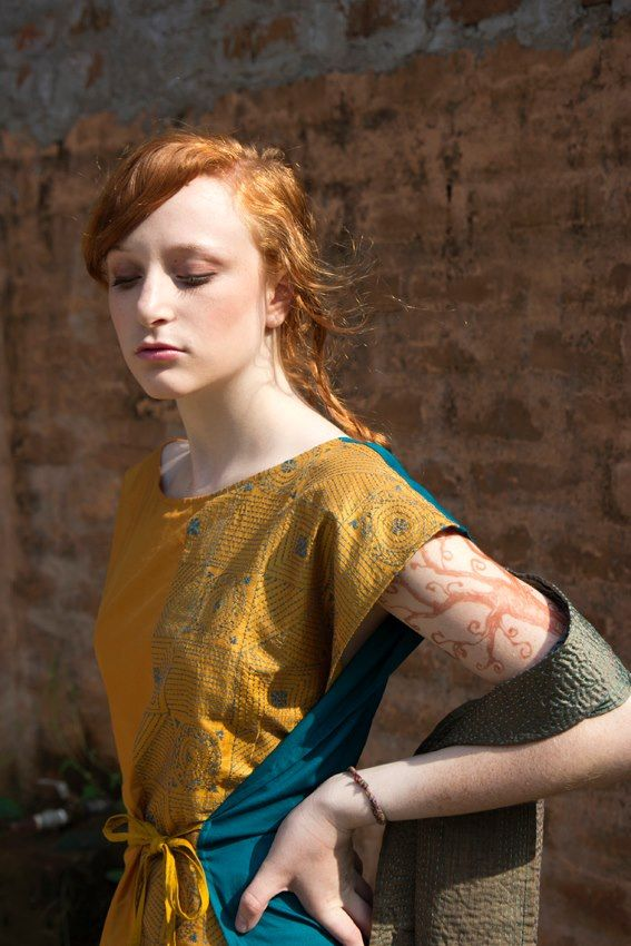 Fanny top, hand embroidered silk and cotton, adjustable in size. Katna scarf, hand embroidered silk.