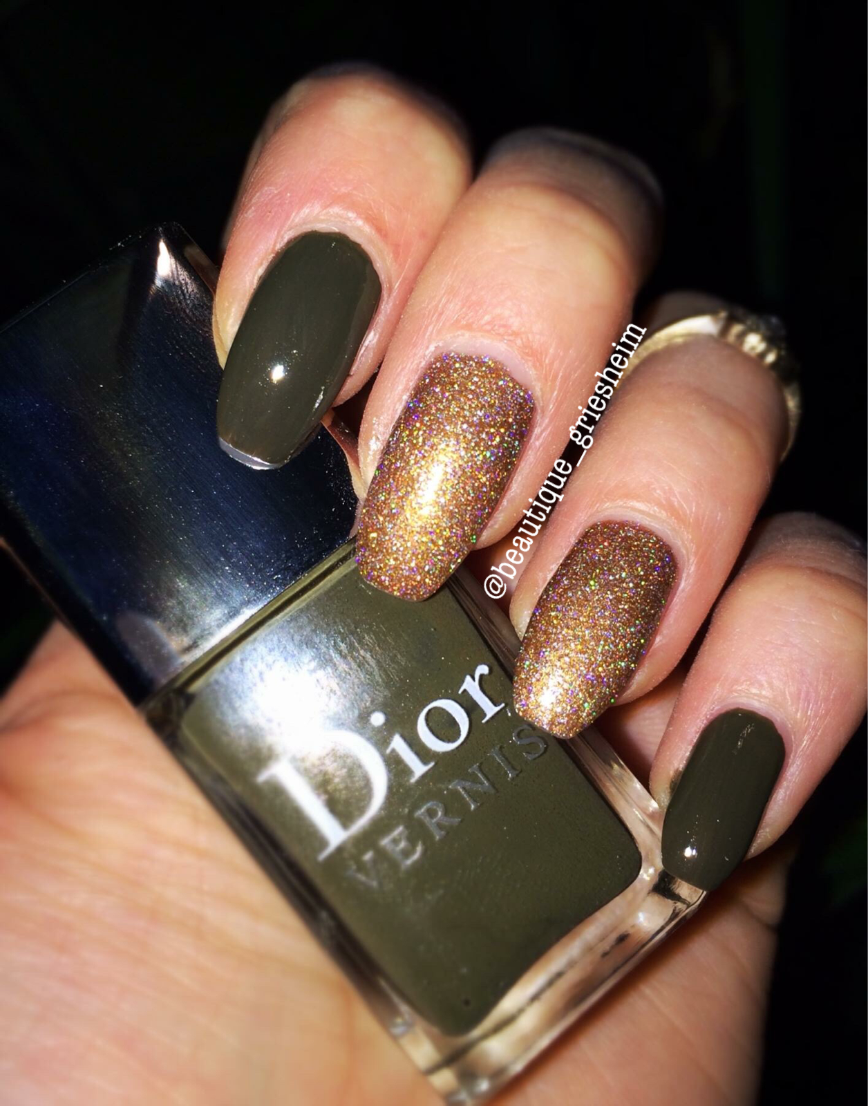 Khaki / Gold Holo Coffin Nails Polish Dior Vernis | BEAUTIQUE ...