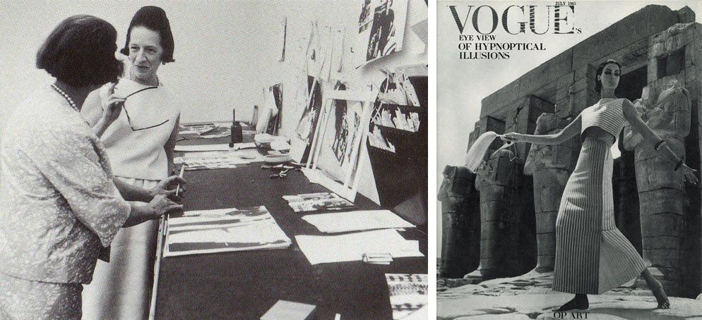 The Temple of Karnak, Egypt, Vogue July 1965 / Vreeland in Vogue's art department, discussing layout