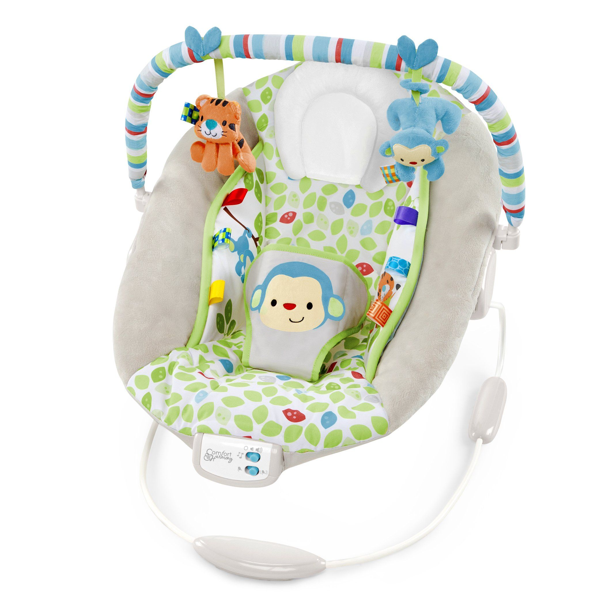 Comfort Harmony Cradling Bouncer Merry Monkeys Taggies Tags Engage Baby And Provide Comfort And Security Plu Baby Bouncer Baby Rockers Bouncer Baby Rocker