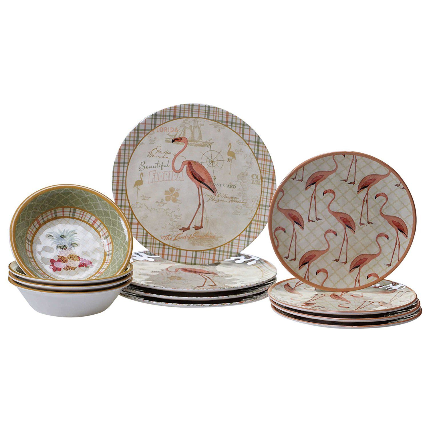 Celebrate any meal with this charming dinnerware set featuring a Floridian design with flamingos and tropical images. Made of melamine this dinnerware set ...  sc 1 st  Pinterest & Amazon.com | Floridian Design 12-piece Charming Dinnerware Set ...