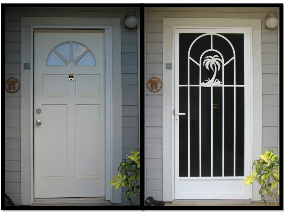 Nice Decorative Security Screen Doors | White Screen Door With Palm Tree  Figurine And A Tasman Security