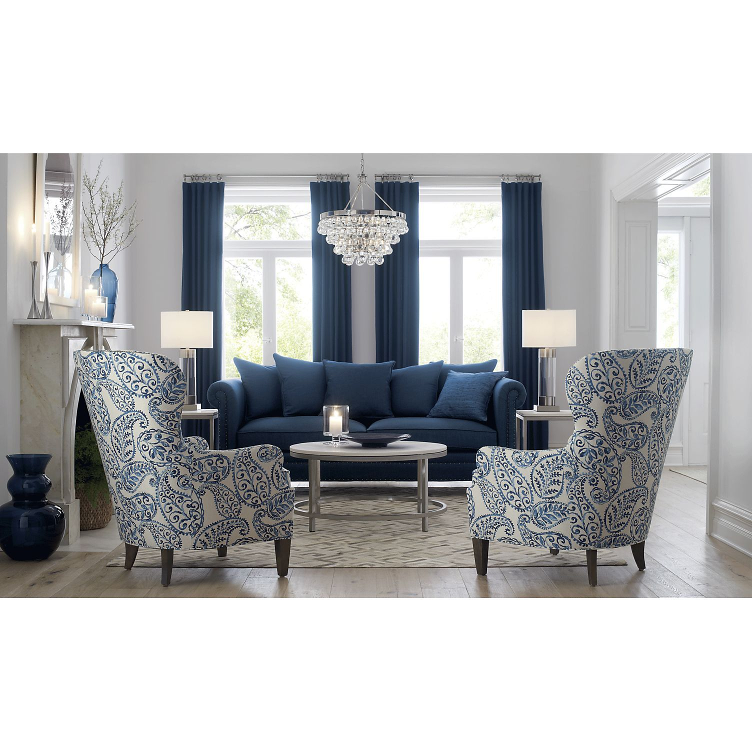 Shop Brielle Blue Wingback Armchair A Textured Linen Blend Gives The Pattern A Painterl Blue Sofas Living Room Blue Living Room Decor Blue Couch Living Room