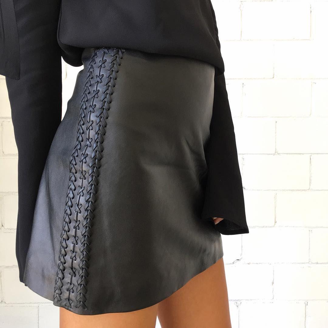 Splice X Splice Boutique The Sahri Leather Braided Skirt - Black