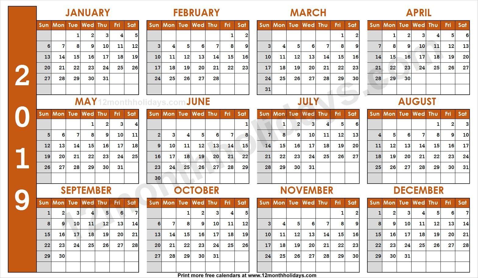 2019 Calendar Editable Template 2019 Yearly Calendar Calendar