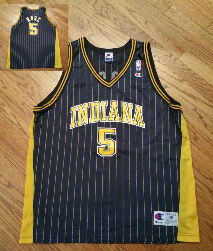 58d53a841c38 ... Jalen Rose 5 Indiana Pacers pinstripe Champion basketball Jersey Men  039 s 48 XL ...