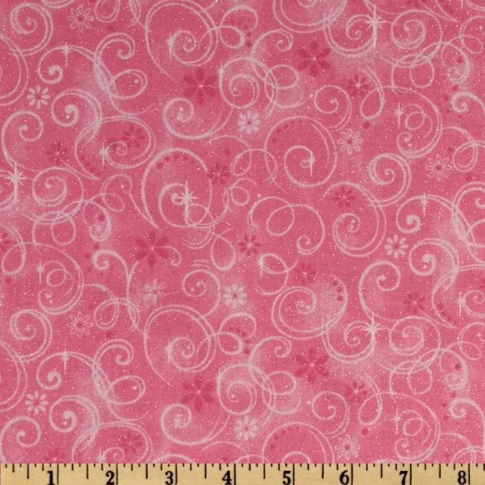 Make Believe Glitter Swirls Pink from @fabricdotcom Designed for ... : metallic quilting fabric - Adamdwight.com
