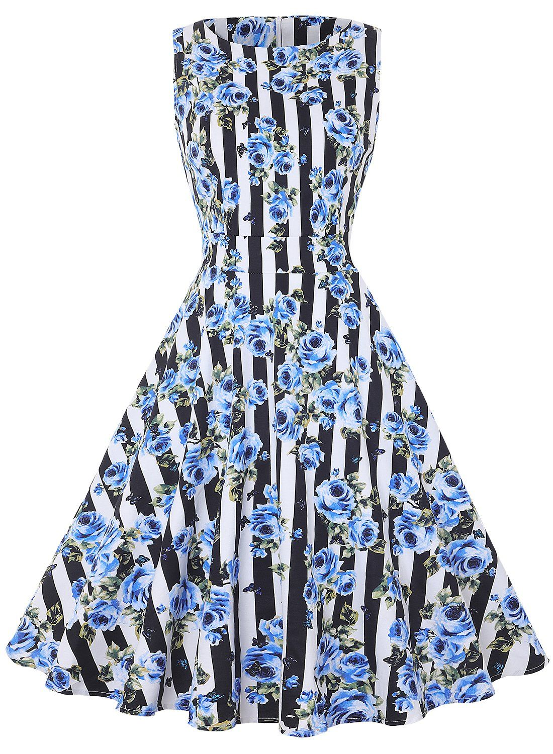 616b40aa11b8 MERRYA Womens Vintage BoatNeck Floral Sleeveless Cocktail Swing Tea Dress  Size L Black Stripes Blue *** Click image for more details. (This is an  affiliate ...
