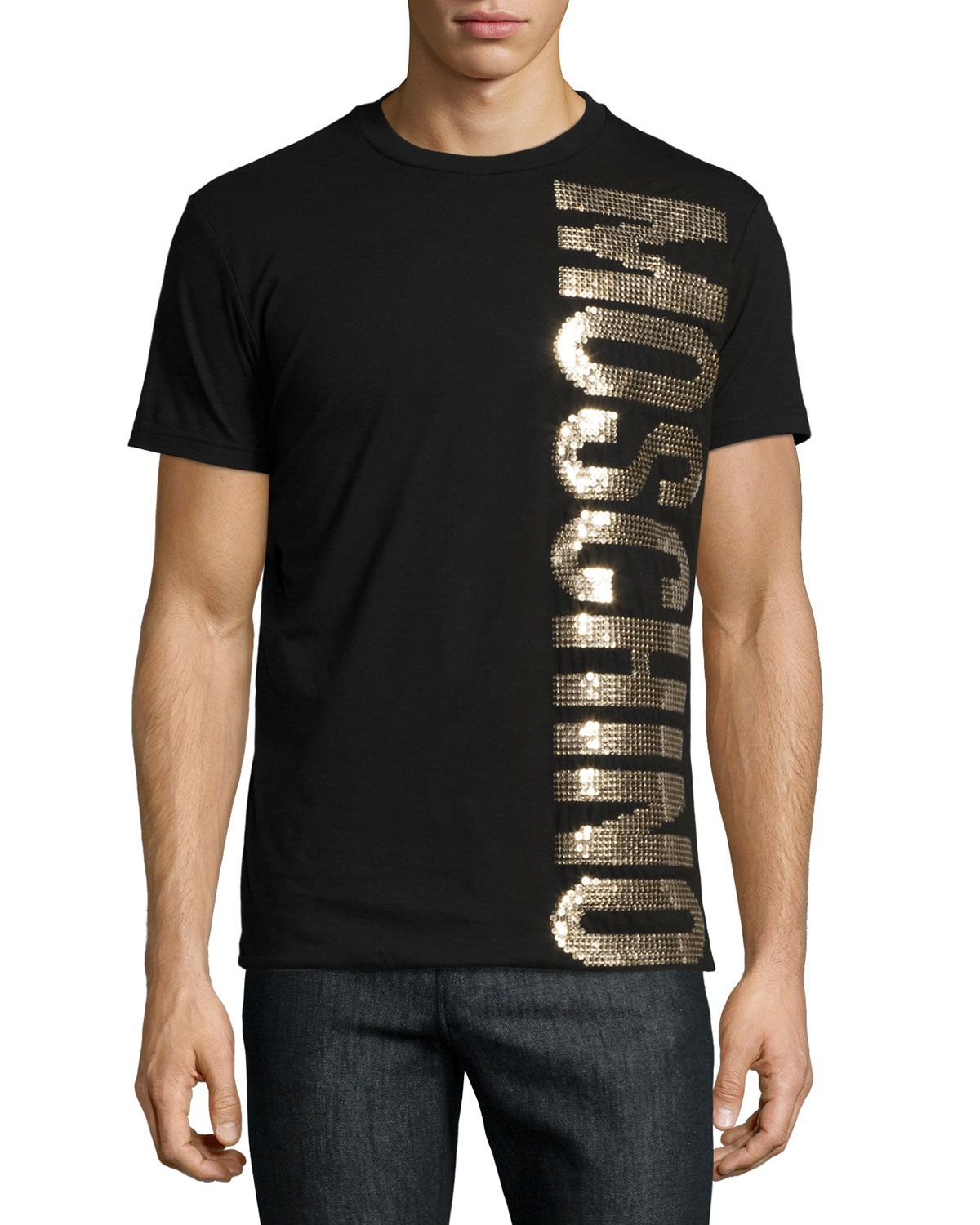 bad0a6222 Gold-Sequin Logo T-Shirt Black in 2019 | *Clothing > Shirts & Tops ...