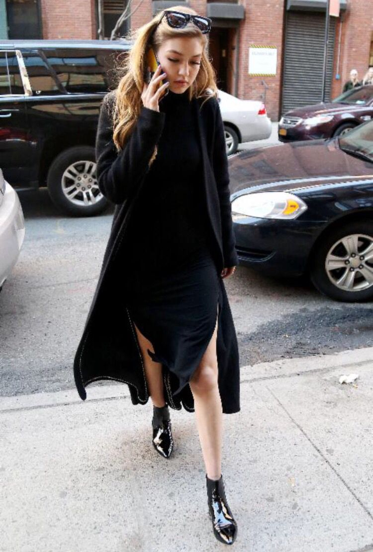 Gigi Hadid | black slit midi dress   long coat cardigan   pointed ...