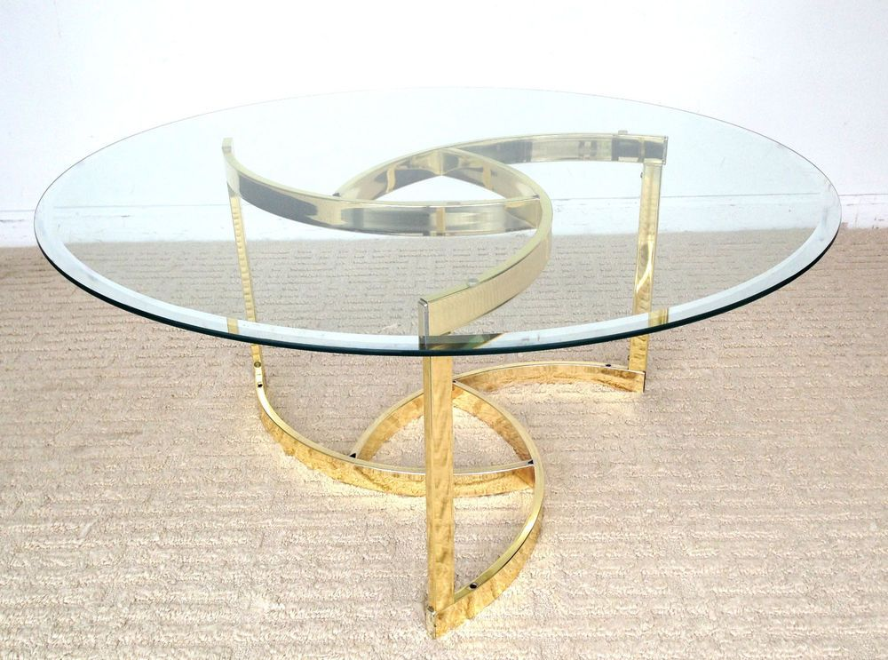 Vintage Mid Century Round Glass Coffee Table Gold Brass 36 Midcenturymodern Vintage T Modern Glass Coffee Table Brass Modern Coffee Table Gold Coffee Table