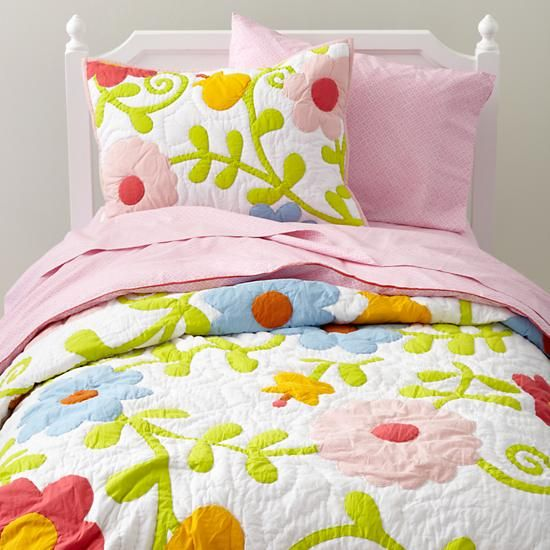 The Land of Nod | Kids' Bedding: Girls' Colorful Flower Quilt in Quilts & Blankets