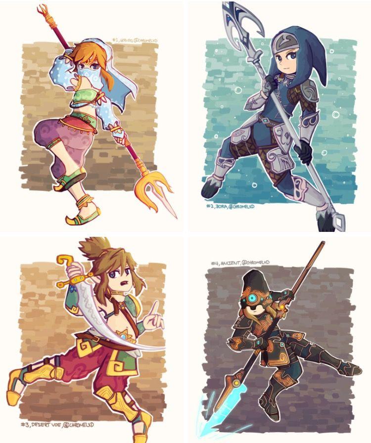 Botw Link S Different Outfits Legend Of Zelda Breath