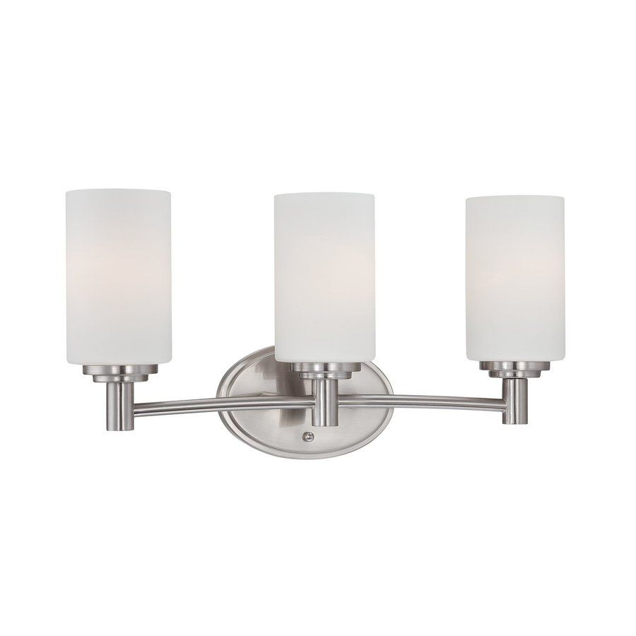 Vanity Lights Lowes Thomas Lighting Pittman 3Light 975In Brushed Nickel Cylinder