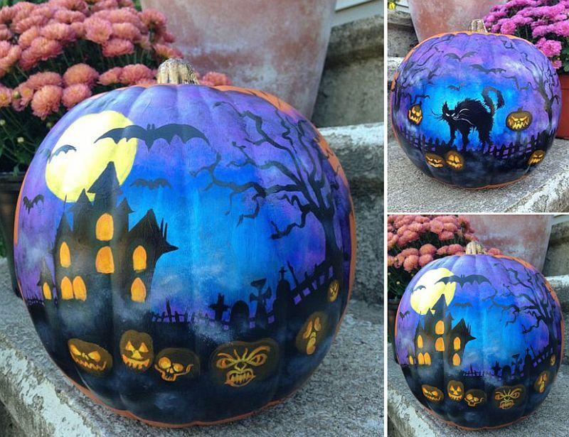 Superior Halloween Painted Pumpkins Part - 10: Haunted House Painted Pumpkin For A Spooky Halloween [From: Etsy]