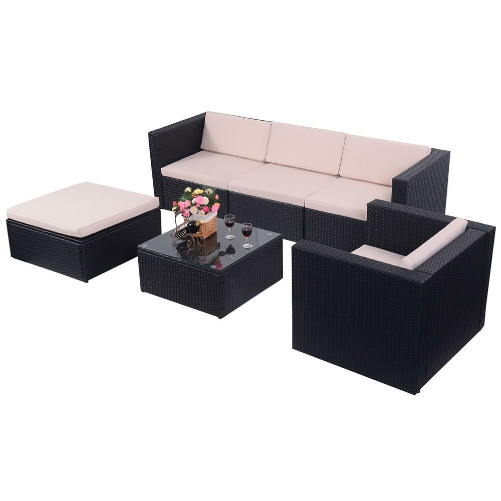 6pc Outdoor Patio Rattan Wicker Sectional Furniture Set Table Sofa Cushioned New Resin Patio Furniture Outdoor Wicker Patio Furniture Indoor Rattan Furniture