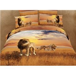 Savannah Lions 100% Cotton 3D Animal Print Bedding Sets