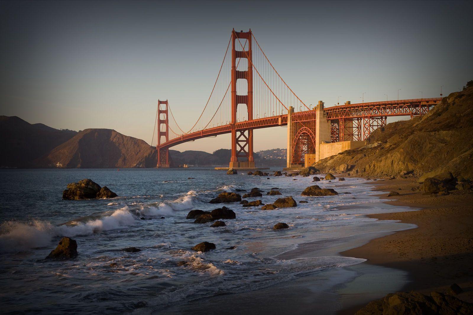 Pin On P H O T O S I Golden gate bridge sea coast rocks