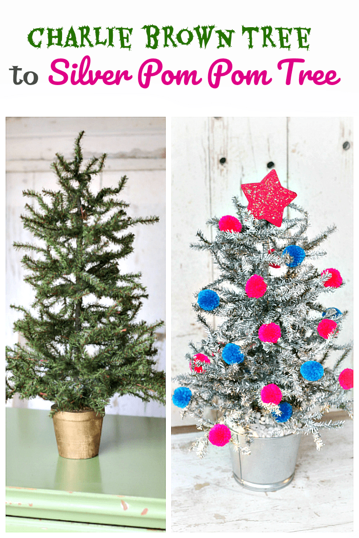 Silver Tinsel Tree Was Once A Scraggly Charlie Brown Tree Silver Tinsel Tree Tinsel Tree Charlie Brown Tree