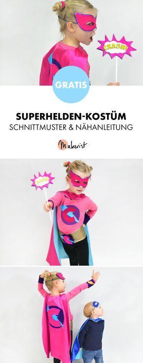 Gratis Anleitung: Superheld-Kostüm für Kinder mit Cape und Maske ...