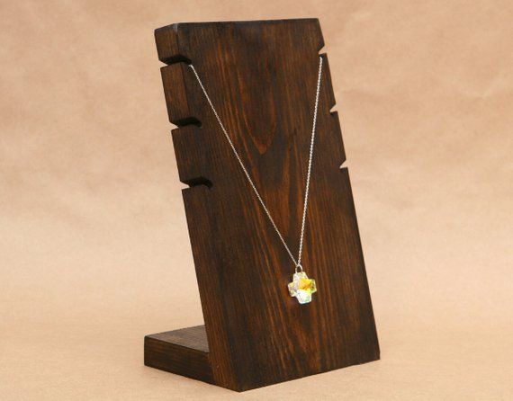 Charm Bamboo Wooden Necklace Bracelet Jewelry Display Stand Holder Showcase Rack