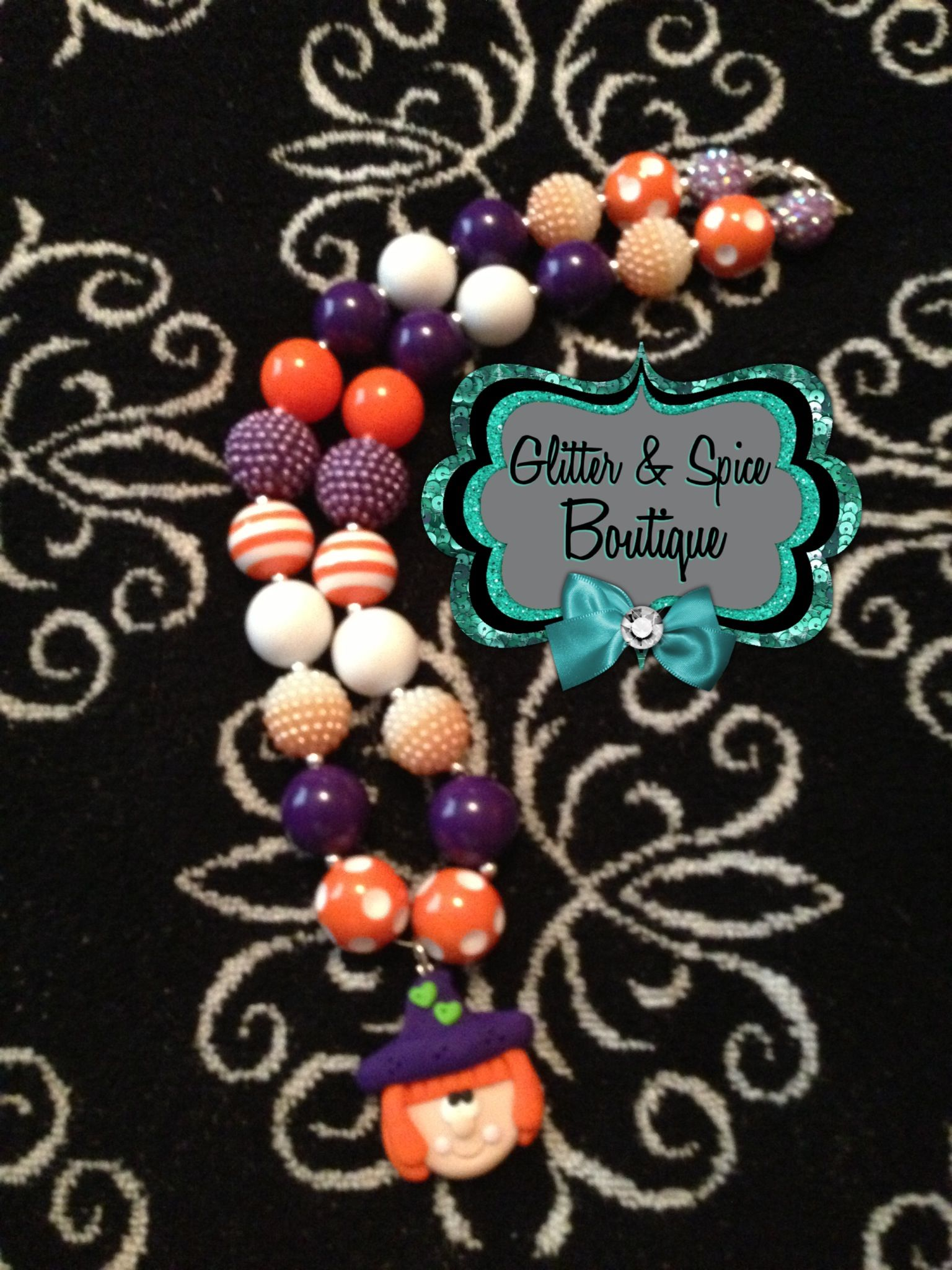 Halloween theme bubblegum necklace matching tutu coming soon! Go check it out on the Glitter & Spice Facebook page!