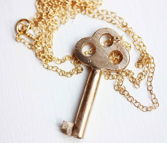 Brushed Gold Key Necklace by diament designs