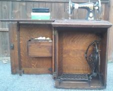 Antique Vintage Singer Treadle Sewing Machine in Oak Cabinet ...