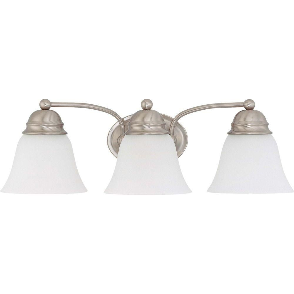 Glomar 3 Light Brushed Nickel Vanity Light With Frosted White