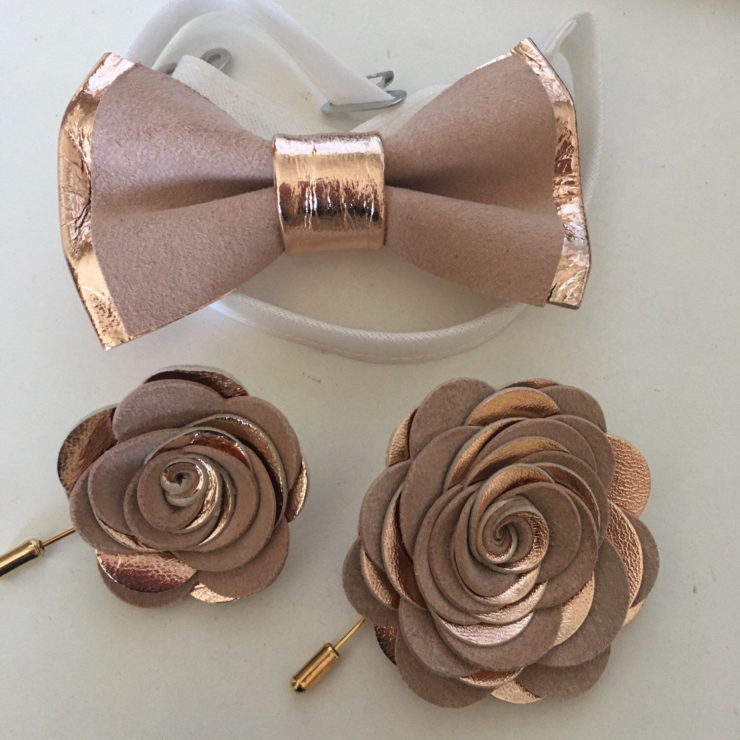 genuine gold leahther toddler bowtie,blush pink peach Rose Gold nude leather bow tie for men,boys rose gold wedding bow tie boutonnere