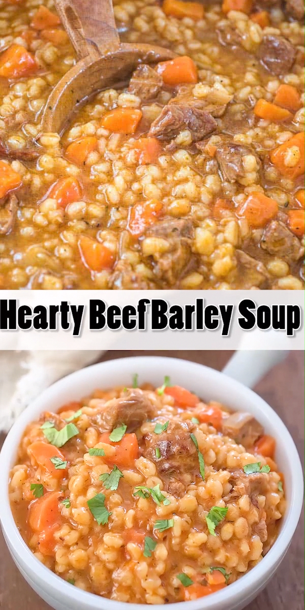 This Hearty Beef Barley Soup is a restaurant-worthy, absolutely delicious, easy-to-make and filling meal. Made with only 8 ingredients, less than 30 minutes of active cooking time, and minimal cleanup, it will feed the whole family! FOLLOW Cooktoria for more deliciousness! #beef #barley #soup #stew #comfortfood #onepot #meat #recipeoftheday #LowCarbohydrateRecipes
