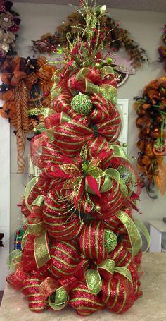 deco mesh tree mesh christmas treetomatoe cage - Tomato Cage Christmas Tree With Mesh
