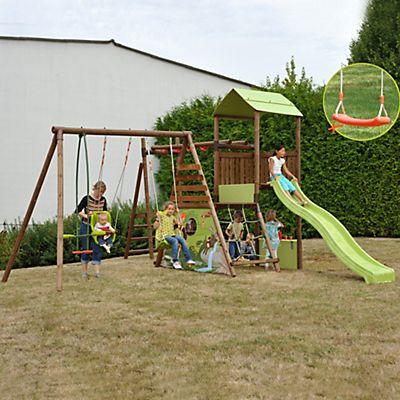 64435b1ac4aea Aire de jeux en bois pour enfant avec balançoires et toboggan ...