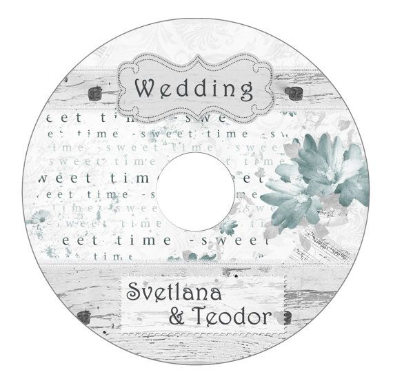 Wedding Cd/Dvd Label Template, Vintage Tree Patterns, Wedding