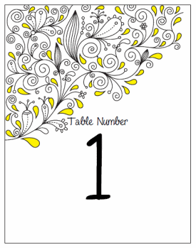 Table Number Cards. Printable Wedding Invitations Paisley Christina Suite: Yellow and Black