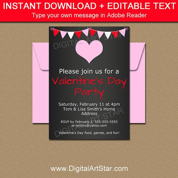 Chalkboard Valentine Invitations - EDITABLE Valentines Day - chalk board invitation template