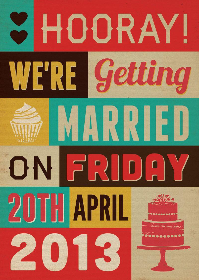 Poster Word Art Themed Vintage Retro Style Wedding Invitation invite ...