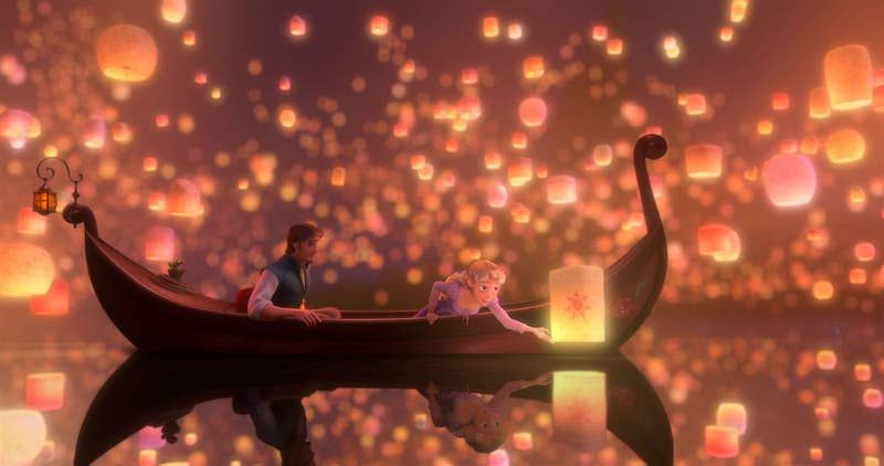 The 31 Most Visually Beautiful Scenes In Animated Movies Ever Tangled Movie Tangled Wallpaper Tangled Lanterns Scene