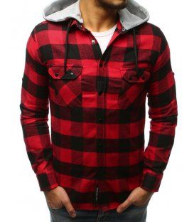 bfcf19dc564c Pánska kockovaná čierno-červená košeľa