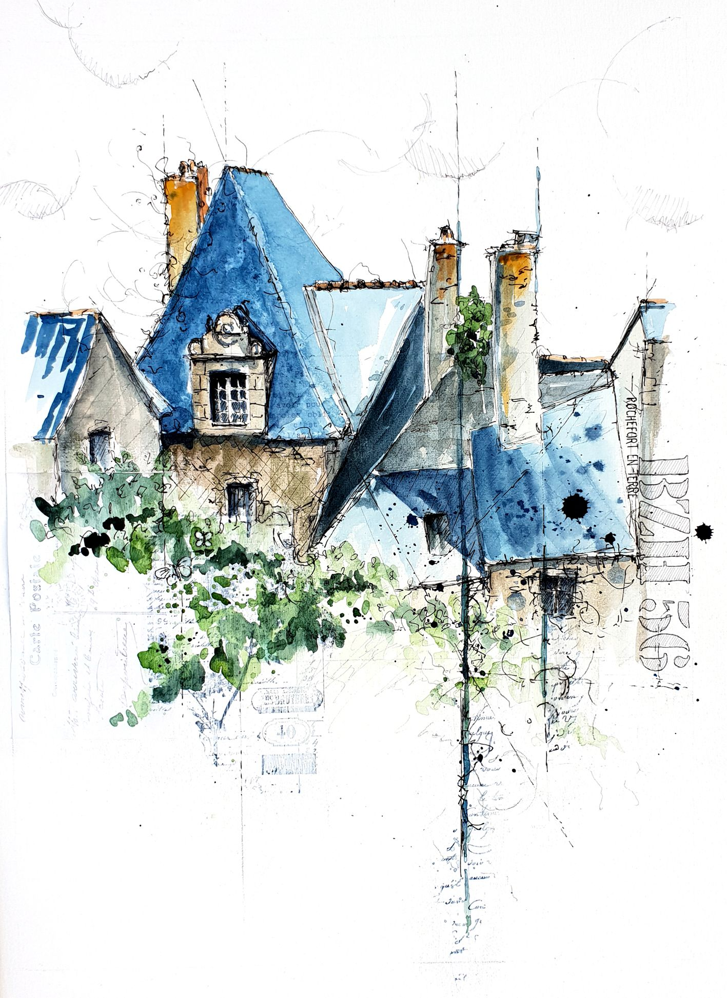 Rochefort En Terre Dessin Aquarelle Village Prefere Des