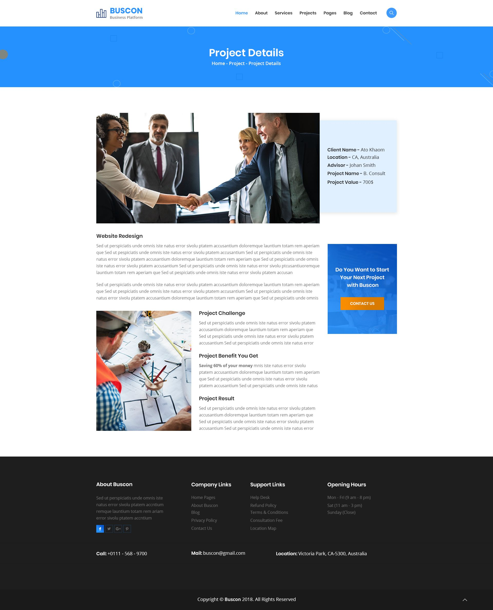 Buscon - Business Consulting & Finance PSD Template