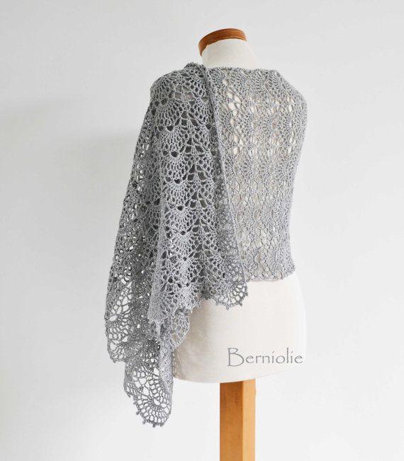 INSTANT DOWNLOAD SILVER Crochet shawl pattern by BernioliesDesigns ...