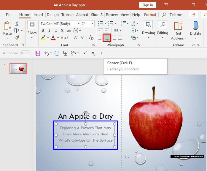 Text Alignment In Powerpoint 2016 For Windows Powerpoint Alignment Text