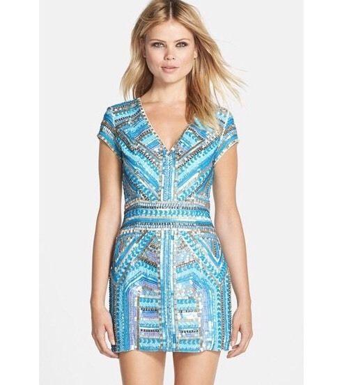Parker Sky Blue Sequin Beaded Serena Mini Dress Sky Blue Size 12 ...