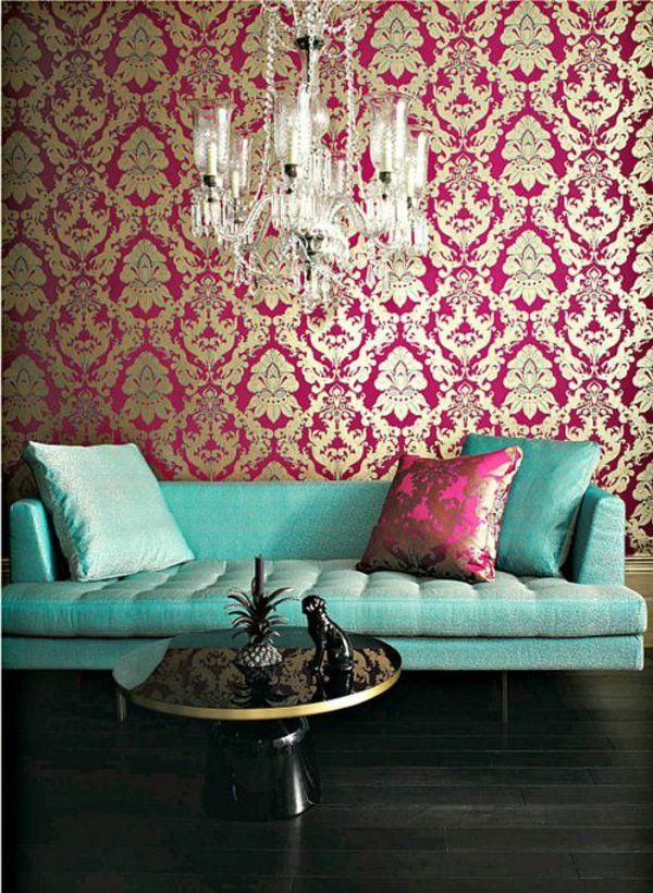 Barock Tapete -Stil aus alten Zeiten in zeitgenössischer Form - retro tapete wohnzimmer